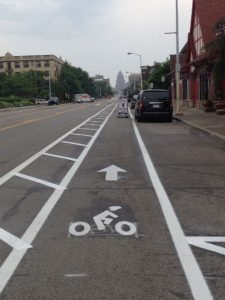 Buffered bike lane in Detroit, MI