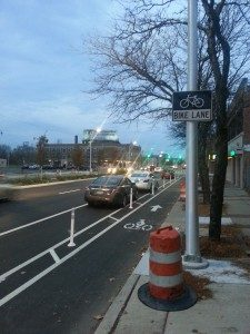 Jefferson Avenue protected bike lane, Detroit, MI. Photo credit: Detroit Greenways Coalition