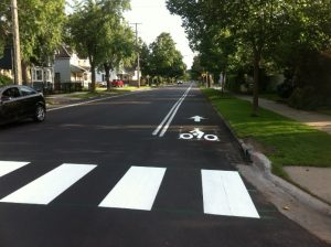 Striped bike lane in Traverse City, MI. Photo credit: traversetrails.org