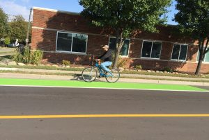 Striped bike lane w/green paint in Ferndale, MI. Photo credit: ferndalemoves.com
