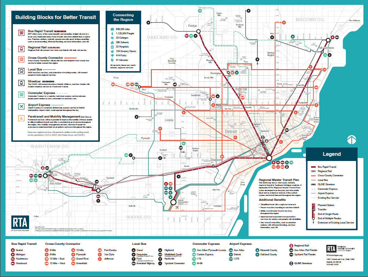 Detroit People Mover Map cleveland rta map